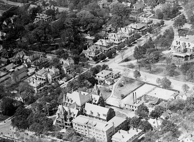 Aerial view of Raleigh, NC, c.1920.